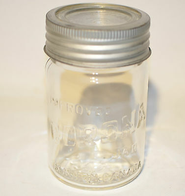 Vintage Corona Pint Clear Glass Jar Made in Canada with Glass Cover
