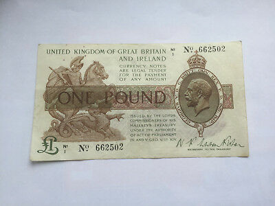 T24 FISHER George V 1919 £1 TREASURY BANK NOTE * N1/1 No. 662502 * gVF *