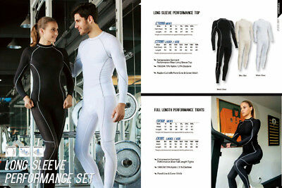 Adults Men's Long Sleeve Compression Performance Top & Full Length Tights Set
