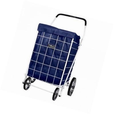 Basket Folding Liner Laundry Grocery Trolley Portable Blue Out Shopping Cart NEW