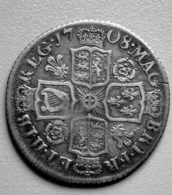 Queen Anne Shilling 1708  Roses & Plumes  (E47)