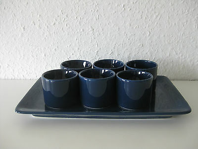 Eierbecher-Set Melitta Stockholm kobalt blau: 6 Eierbecher + Servierplatte 60er