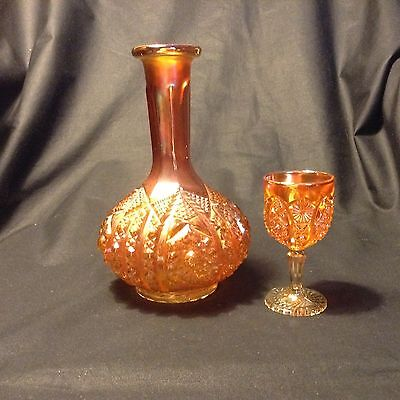 """Lovely OCTAGON CARNIVAL GLASS DECANTER & GOBLET by IMPERIAL 8&4"""" high MARIGOLD"""