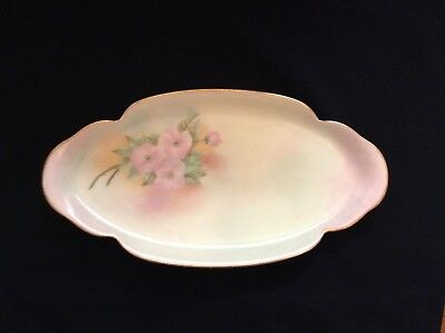 """Antique LIMOGES THEODORE HAVILAND FRANCE Hand-painted Shallow DISH 12.75x6.25"""""""