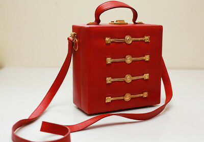 VERSACE Vintage Leather Bag / late 80's early 90's, Genuine, Fire Red