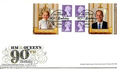 2016 QUEEN'S 90th DAY 2 GREAT BRITAIN SELF ADHESIVE BOOKLET ROYAL MAIL FDC