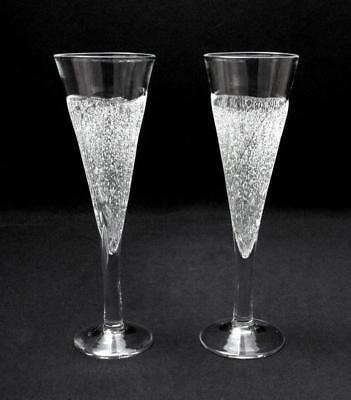 Signed Pair Julio Santos Australian Studio Art Glass Champagne Flutes Glasses
