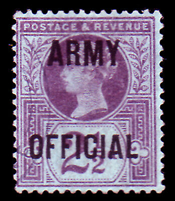 GB. QV. SG O44, 2 1/2d PURPLE/BLUE ARMY OFFICIAL. FINE USED.