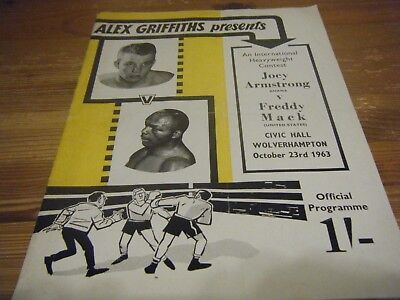 23.10.1963  JOEY ARMSTRONG  v FREDDIE  MACK -  AT THE CIVIC HALL  WOLVERHAMPTON