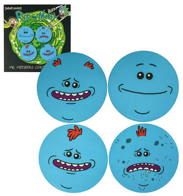 Rick And Morty Collectible Round Mr Meeseeks Coasters Set of Four - New In Pack