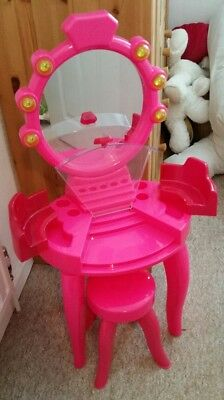 Girls princess pink plastic dressing table and stool