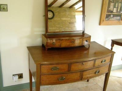 Antique Mahogany Bow Fronted Dressing Table with matching Mirror