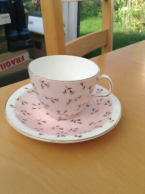 Foley Hazel Thumpston Cottonseed Pink Cup and Saucer - Vintage 1950s