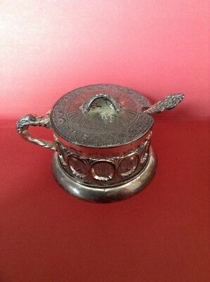 Vintage Silver Plated Sugar Bowl Glass Bowl And Spoon