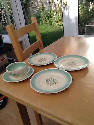 Susie Cooper Dresden Spray Set of Cup & Saucer & 3 Side Plates