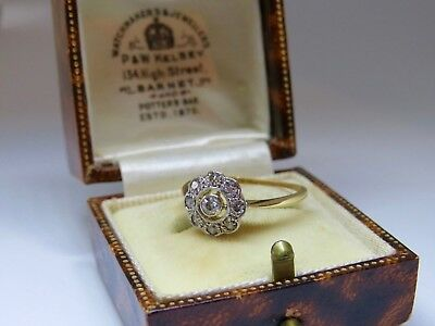 LOVELY 18ct Yellow Gold & Platinum Art Deco Diamond Cluster Ring SIZE L