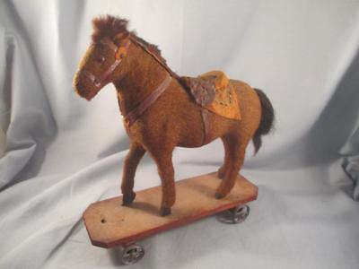 Antique German Horse Pull Toy Mohair on Wood Base Metal Wheels