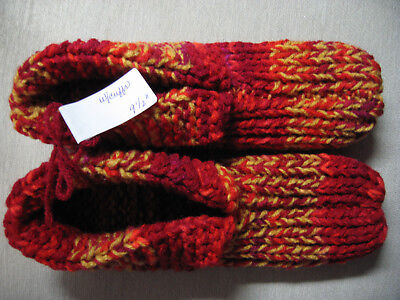 New Adult Handmade Slippers w/Cuffs Red & Gold Mix Womans Lg Mans Med 9 1/2""