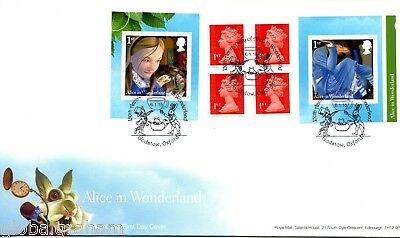 2015 Alice Wonderland Great Britain Self Adhesive Booklet Royal Mail Fdc Oxon