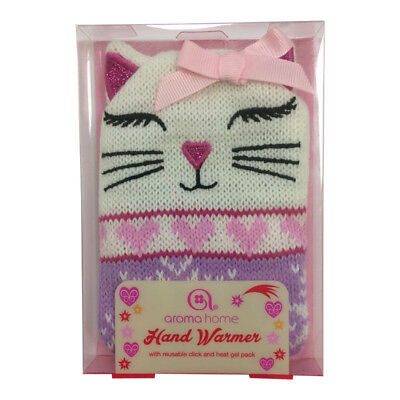 Novelty Knitted Reusable Cat Kitten Single Hand Warmer - Click Heat Gel Gift