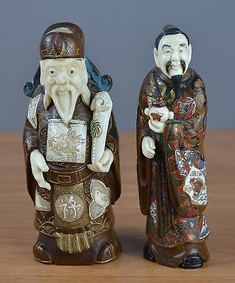 Pair of Japanese statues in wood and bone - marked bottom