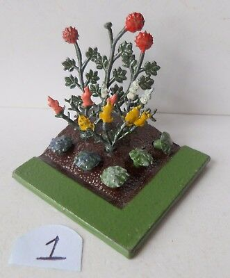 BRITAINS PRE-WAR PAINTED LEAD GARDEN No06 FLOWER BED+NINE FLOWERS lot 1