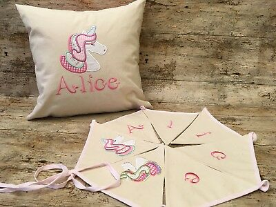 Unicorn Personalised Bunting and Cushion Set