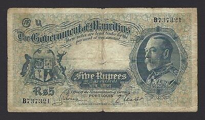 1930 Mauritius 5 Rupees, Issued 1932, P-20, Evenly Circulated Problem Free, Rare