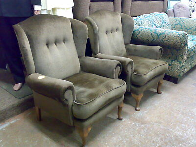 Pair of vintage wingback armchairs