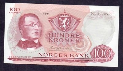 100 Kroner From Norway 1971 Unc