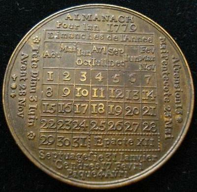 1779 American Revolution French Calendar Medal SHARP
