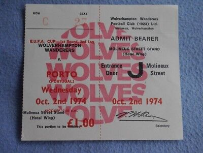 1974-5  Wolves v Porto Ticket