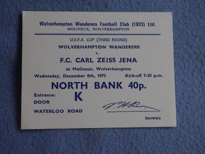 1971-2  Wolves v Carl Zeiss Jena Ticket