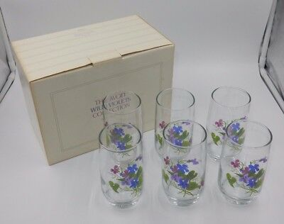 "SET OF 6 THE AVON COLLECTION No. 0269 ""WILD VIOLETS"" PAINTED CRYSTAL TUMBLERS"