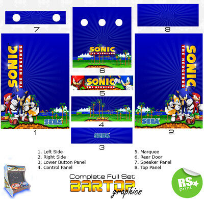 Sonic Full/Half Sets Arcade Artwork Stickers Graphics / Laminated All Sizes