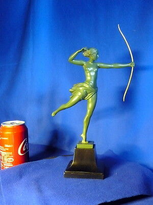 MAX le Verrier 1910 STATUE SCULPTURE Sign ,DEMARC, NUDE GIRL  VINTAGE ANTIQUE