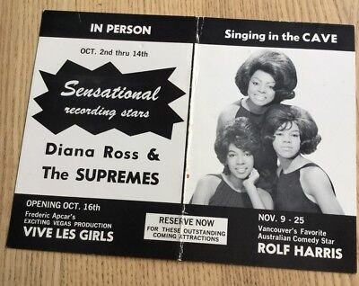 DIANA ROSS & The SUPREMES CONCERT HANDBILL FLYER POSTCARD PROVENANCE 1967 MOTOWN