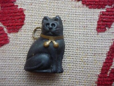 Vintage Antique 1920s Czech Glass Black Cat Cracker Charm -original collar & bow