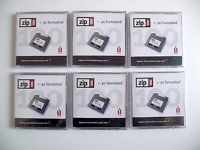 6 x Iomega ZIP 100 MB Disks + Cases - PC Formatted - New Sealed