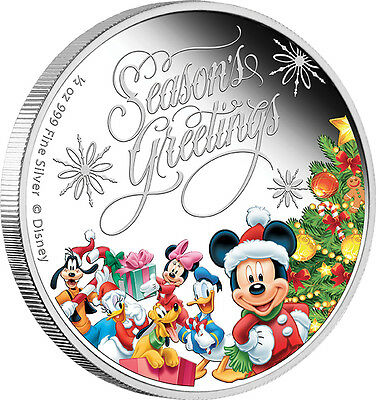 1/2 Oz Silber Proof Disney Season's Greetings Mickey Mouse Niue 2014 Weihnachten