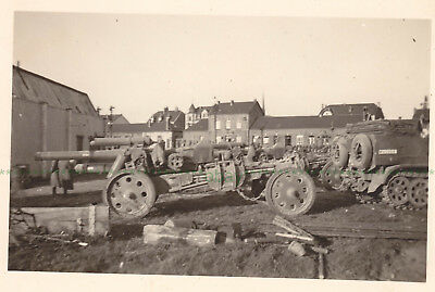 Dunkirk 1940. Two German Photographs of Half-Tracks and Artillery.