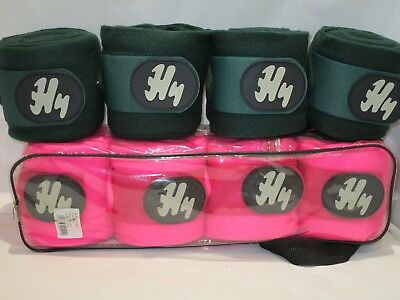 HY HORSE PONY POLO FLEECE SCHOOLING SET OF 4 BANDAGES PINK GREEN 3 M x 10 CM