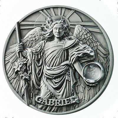 2 Oz Silber Antique Finish High Relief Gabriel The Choir of Angels 5$ Niue 2017
