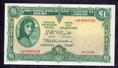 1 Pound From Ireland 1958 Aunc Payable In London