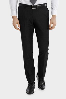 NEW Blaq Slim Slim Fit Textured Trouser Black