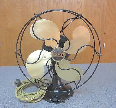 "Restored Vintage 1923 Emerson Jr. 10"" Oscillating Electric Fan Cast Iron Base"