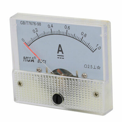 Pointer Needle 1A Rectangle Panel Current Analog Gauge Tester DC Ammeter w Screw