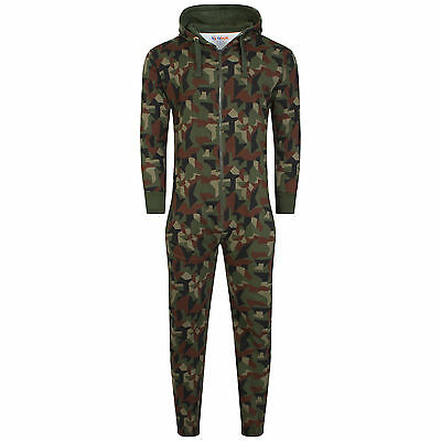 Camo Army Mens Women Hooded Onezie Playsuit All In One Piece Jumpsuit