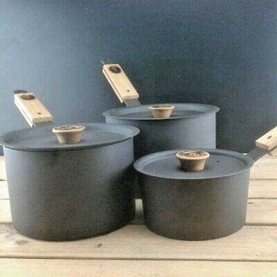 Netherton Foundry Shropshire Made Spun Iron Saucepan Set 1