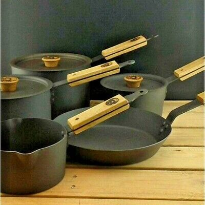 Netherton Foundry Shropshire Made Spun Iron Saucepan Set 3